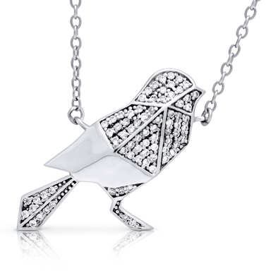 "Silverissimo Collection Tails Pendant ""Baby Magpie"" Bird Sterling Silver 925 & Clear Zirconia Double Sided 3D Necklace"