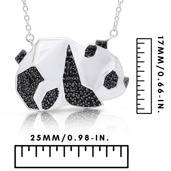 "Silverissimo Collection Tails Pendant ""Bear-Cat Bamboo"" Panda Sterling Silver 925 & Black Zirconia Double Sided 3D Necklace"