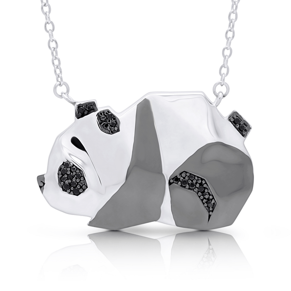 "Silverissimo Collection Tails Pendant ""Bear-Cat Bamboo"" Panda Sterling Silver 925 & Clear & Black Zirconia Double Sided 3D Necklace"