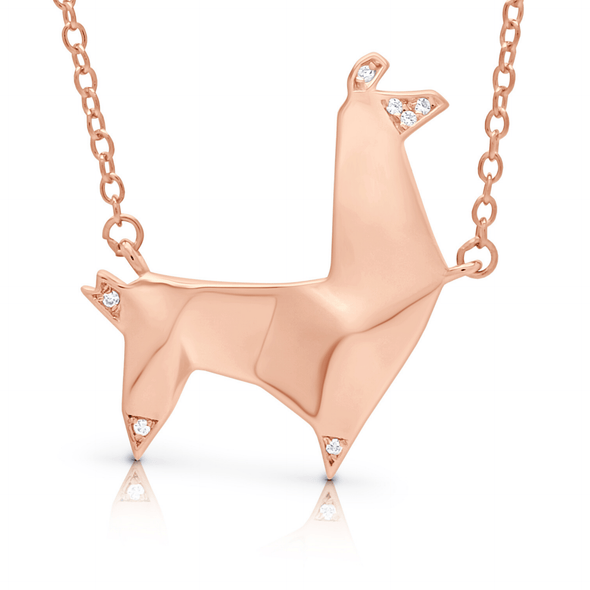 "Silverissimo Collection Tails Pendant ""Bob the Lama"" Rose Gold Plated Sterling Silver 925 & Clear Zirconia Double Sided 3D Necklace"