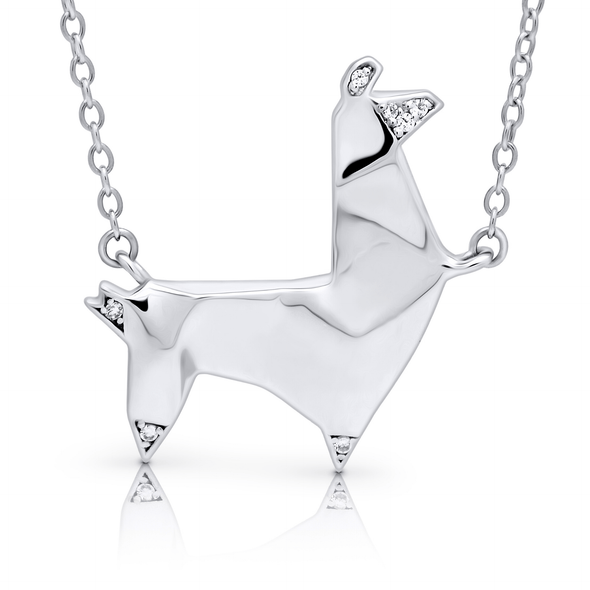 "Silverissimo Collection Tails Pendant ""Bob the Lama"" Sterling Silver 925 & Clear Zirconia Double Sided 3D Necklace"