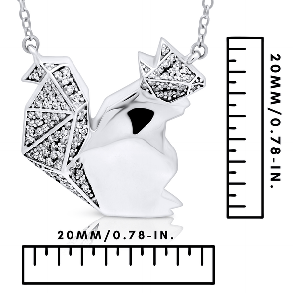 "Silverissimo Collection Tails Pendant ""Drive-me-nuts"" Squirrel Sterling Silver 925 & Zirconia Double Sided 3D Necklace"