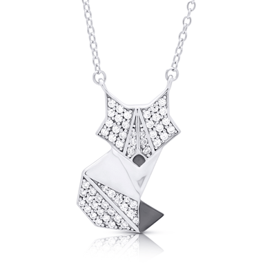 "Silverissimo Collection Tails Pendant ""Foxtrot"" Fox Sterling Silver 925 & Clear Zirconia Double Sided 3D Necklace"