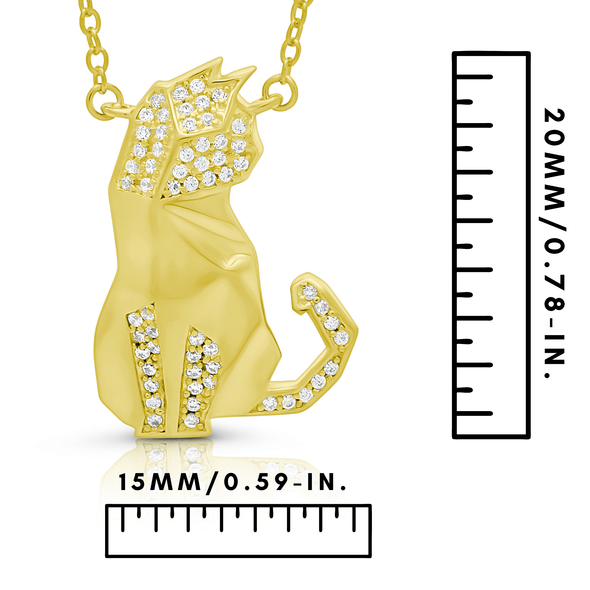 "Silverissimo Collection Tails Pendant ""Poe"" Cat Gold Plated Sterling Silver 925 & Clear Zirconia Double Sided 3D Necklace"