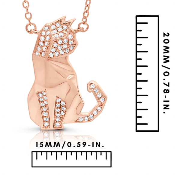 "Silverissimo Collection Tails Pendant ""Poe"" Cat Rose Gold Plated Sterling Silver 925 & Clear Zirconia Double Sided 3D Necklace"