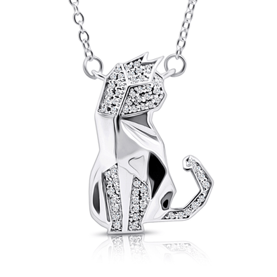 "Silverissimo Collection Tails Pendant ""Poe"" Cat Sterling Silver 925 & Clear Zirconia Double Sided 3D Necklace"