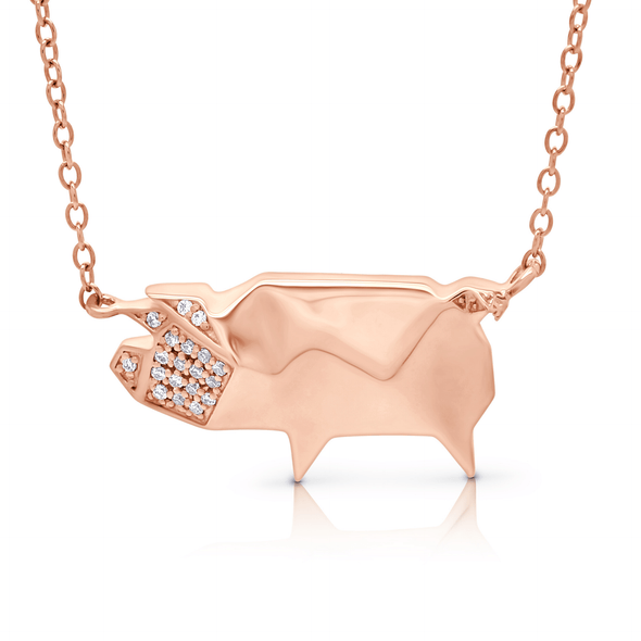 "Silverissimo Collection Tails Pendant ""Skinny the Pig"" Rose Gold Plated Sterling Silver 925 & Clear Zirconia Double Sided 3D Necklace"