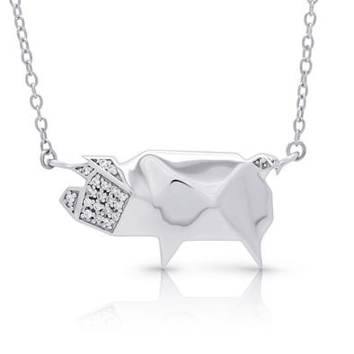 "Silverissimo Collection Tails Pendant ""Skinny the Pig"" Sterling Silver 925 & Clear Zirconia Double Sided 3D Necklace"