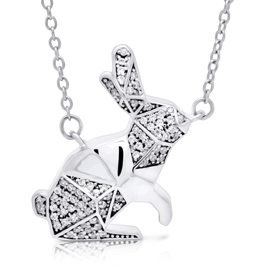 "Silverissimo Collection Tails Pendant ""White Rabbit"" Sterling Silver 925 & Clear Zirconia Double Sided 3D Necklace"