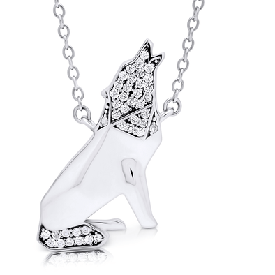 "Silverissimo Collection Tails Pendant ""Wolfgang Von Lupo"" Wolf Sterling Silver 925 & Clear Zirconia Double Sided 3D Necklace"