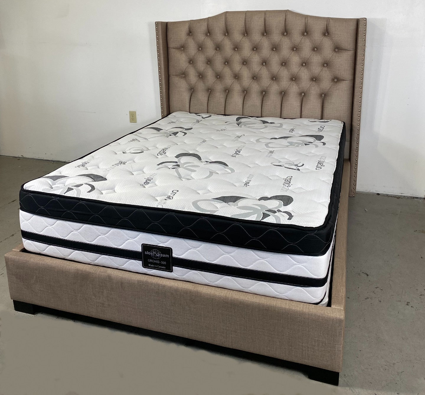 fabric tufted canadian made upholstered bed