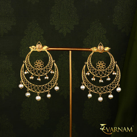 Rose Cut Diamonds and Pearls Studded 22KT Gold Classic Chandbalis