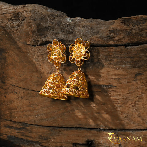 22 Karat Gold Floral Jhumkas with Filigree & Temple Work
