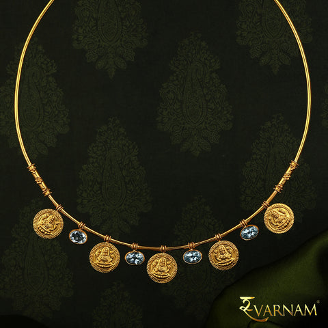 Temple Work Motif and Topaz Stones 22KT Gold Necklace
