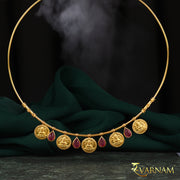 Temple Work Motif and Tourmaline Stones 22KT Gold Necklace