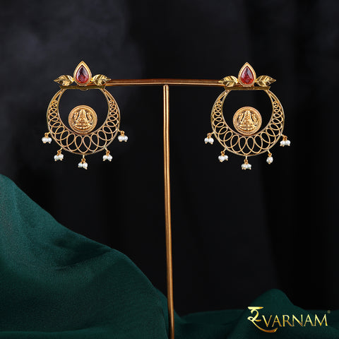 22 Karat Gold Temple Work Chandbalis With Studded Tourmaline & Pearls