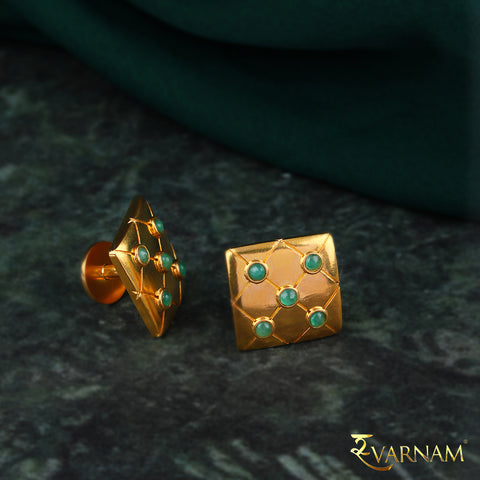 Emeralds Studded 22KT Gold Men's Cufflinks