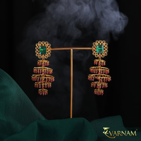 Emerald and Rubies Studded 22KT Gold Chandelier Earrings