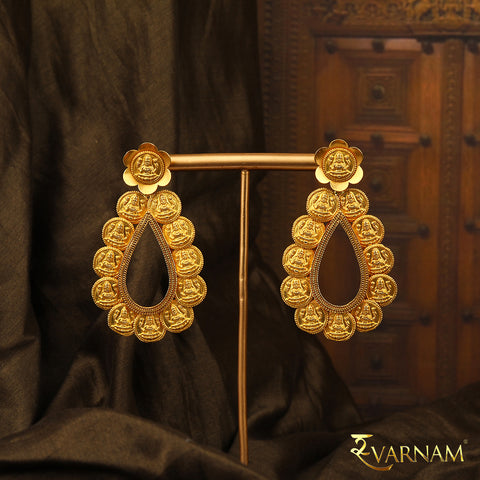 Kasu & Temple Work 22 Karat Gold Oval Statement Earrings