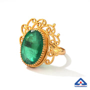 Doublet green quartz ring with 22 karat gold filigree work