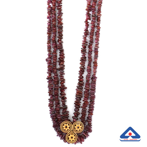 Beaded ruby chips necklace with 22 karat gold taar phool pendant
