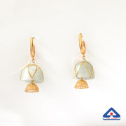22 karat gold and fluorite stone jhumka