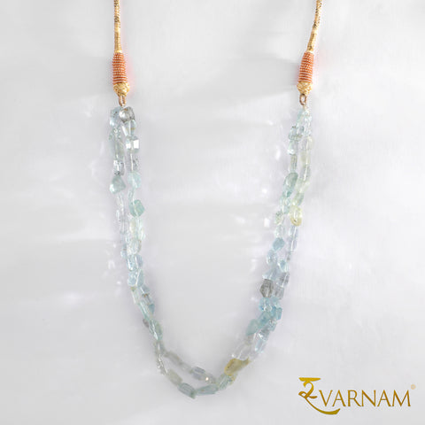 Crystal Clear Aquamarine Stones Beaded Handcrafted Necklace