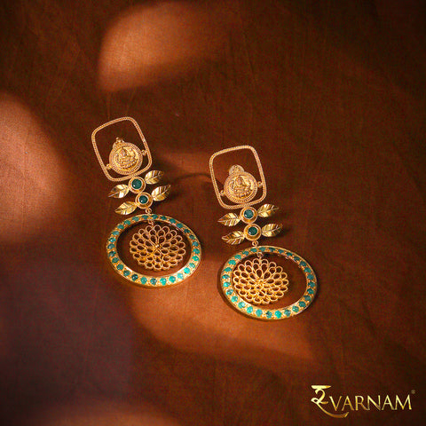 22 Karat Gold Temple Work Structural Earrings