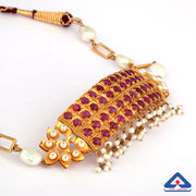 22KT Gold Choker Necklace With Studded Pearls and Rubies