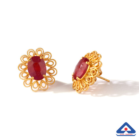 Ruby Studded 22 Karat Gold Filigree Work Studs