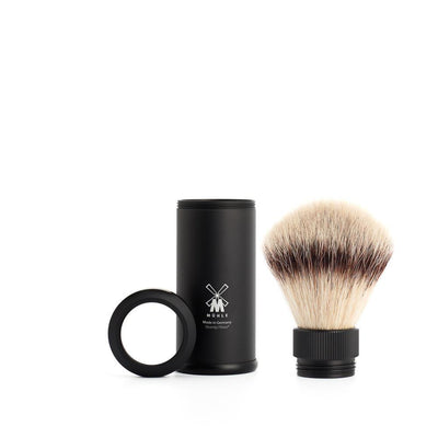 Muhle, MÜHLE Black Anodized Aluminum, Silvertip Fibre Travel Shaving Brush - The Brotique with Free UK Shipping for Mens Beard Care, Mens Shaving and Mens Gifts