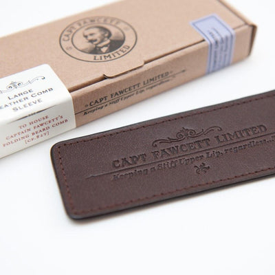 Captain Fawcett Limited, Captain Fawcett Large Leather Comb Sleeve - The Brotique with Free UK Shipping for Mens Beard Care, Mens Shaving and Mens Gifts