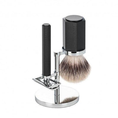 Muhle, MÜHLE Hexagon Silvertip Fibre Shaving Set - The Brotique with Free UK Shipping for Mens Beard Care, Mens Shaving and Mens Gifts