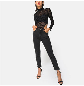 Leopard Print Long Sleeve Black Bodysuit