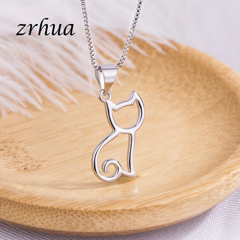 Sterling Silver Link Necklace with Cat Pendant