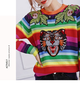 Edgy Coloured Striped Roaring Tiger Sweater