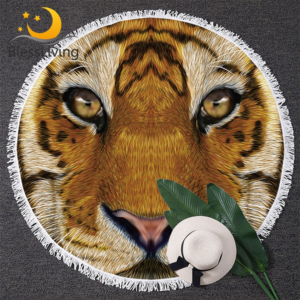 Tiger Round Beach Towel Large