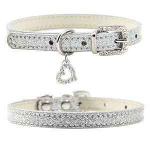 Cat Collar With Rhinestone Love Pendant
