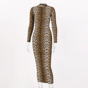Tiger and Leopard Print Long Sleeve Dress