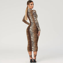 Load image into Gallery viewer, Tiger and Leopard Print Long Sleeve Dress
