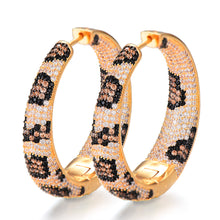 Load image into Gallery viewer, Leopard Hoop Crystal Earrings