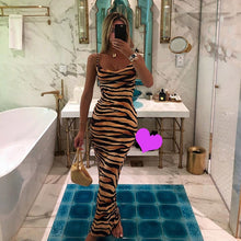 Load image into Gallery viewer, Spaghetti Strap Tiger Print Maxi Dress