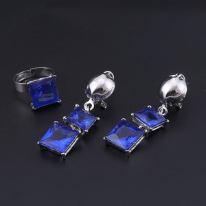 Luxury Gold Blue Crystal Leopard Statement Jewelry Set