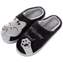 Load image into Gallery viewer, Cute Cat Welcome Home Plush Slippers