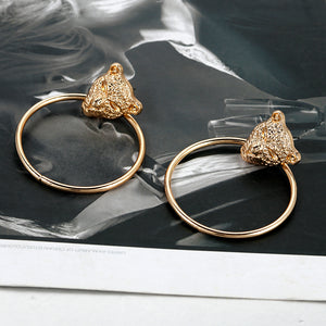 Gold Color  Leopard Head Hoop Earrings