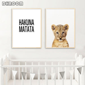 Baby Animal Nursery Canvas Wall Art