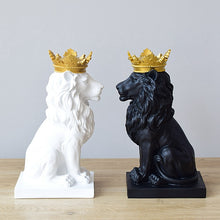 Load image into Gallery viewer, Gold Crowned Lion Abstract Statue