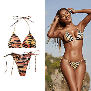 Sexy Tiger Print Two Piece Bikini Set