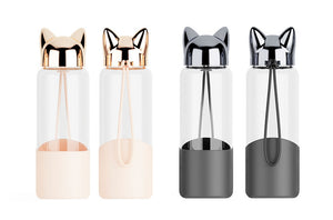 Creative Cute Cat Glass Water Bottle