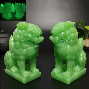 Glowing Chinese Lions Statues
